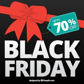 Fantastic black friday background with a red bow