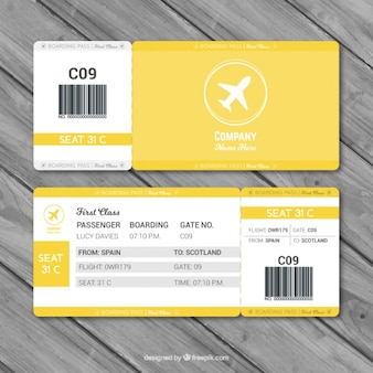 Fantastic boarding pass template with gray details