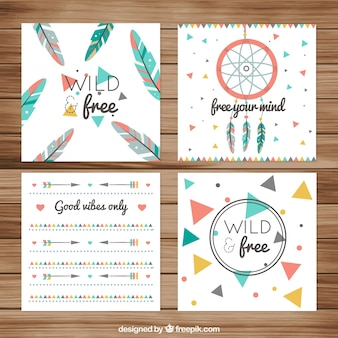 Fantastic boho greeting cards with flat elements
