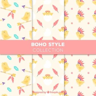 かわいいひよこと素晴らしいbohoパターン