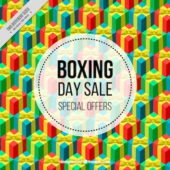 Fantastic boxing day background with colorful gifts