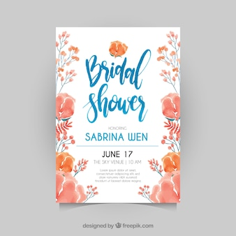 Fantastic bridal shower invitation with watercolor flowers