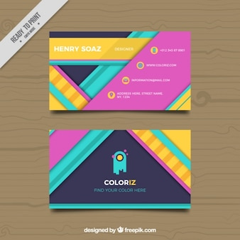 Fantastic business card with colorful abstract shapes