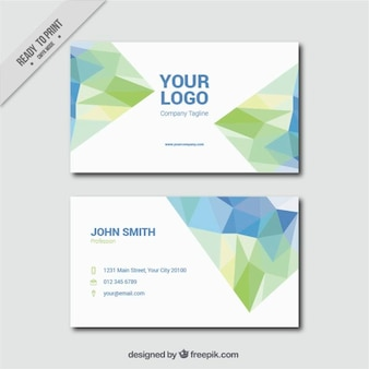 Fantastic business card with decorative polygons