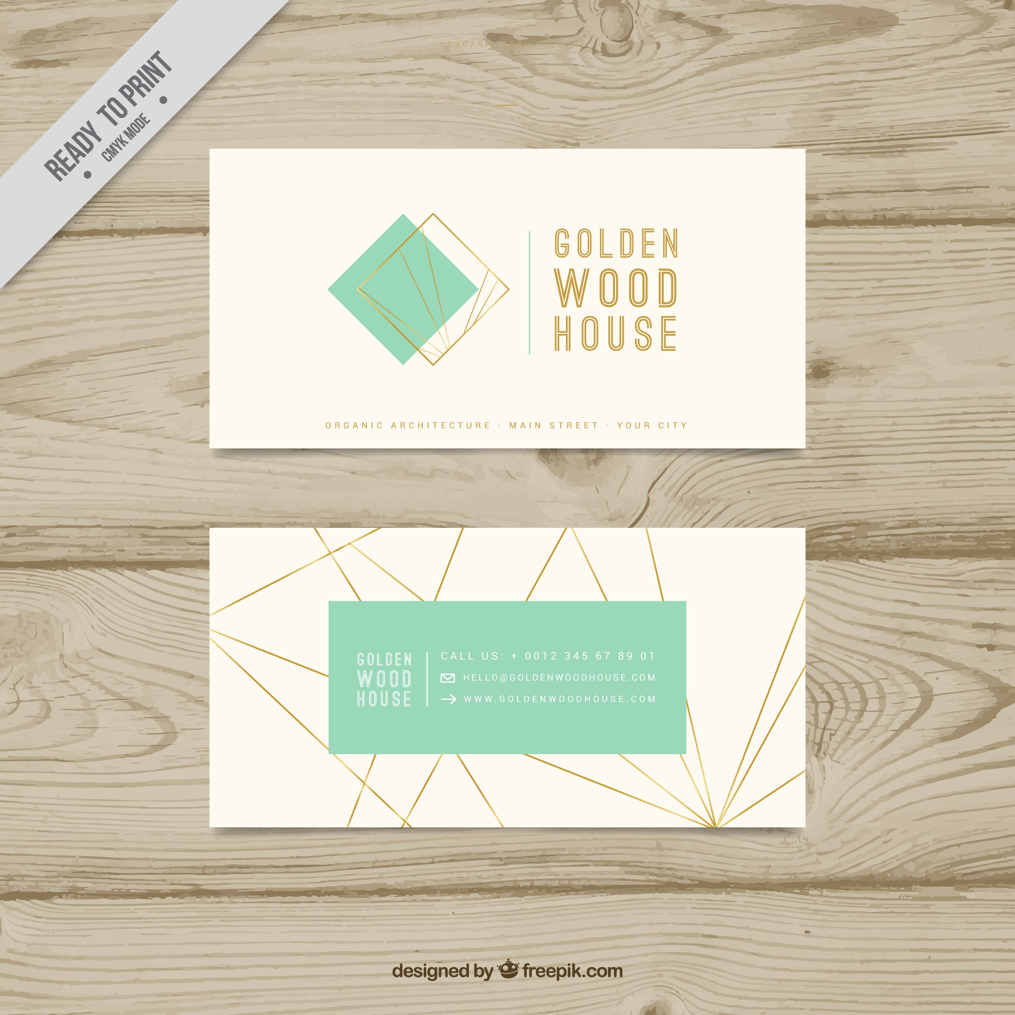 Fantastic business card with geometric golden lines