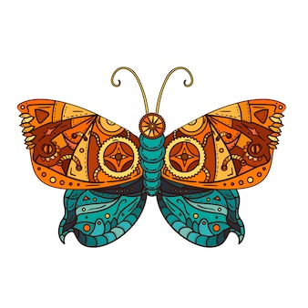 Fantastic butterfly in steampunk style for tattoo, sticker, print and decorations.