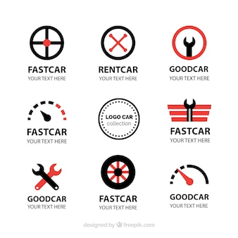 Fantastic car logos with red details