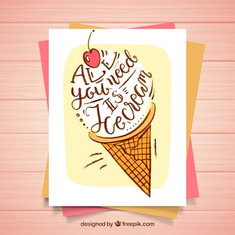 Fantastic card with lettering and ice cream