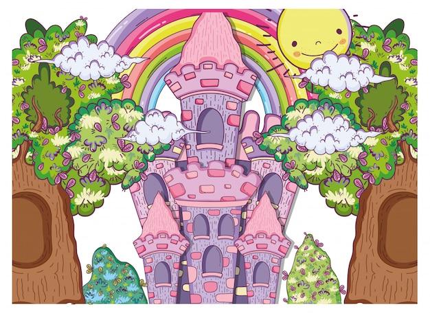 Фантастический замок с деревьями, домами и солнцем