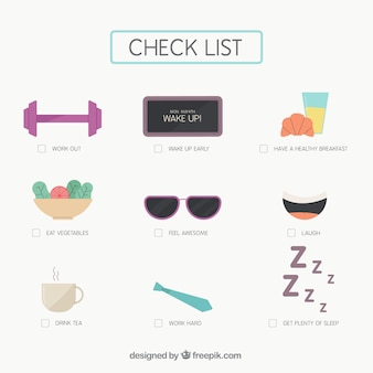 Fantastic checklist with decorative objects