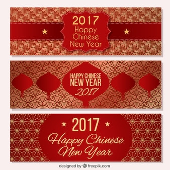 Fantastic chinese new year banners with golden details