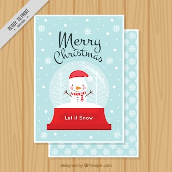 Fantastic christmas card with happy snowman
