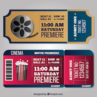Fantastic cinema tickets in realistic style