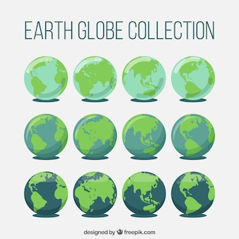 Fantastic collection of earth globes in flat design