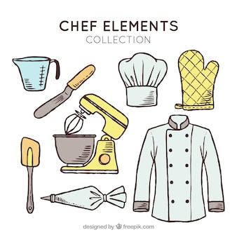 Fantastic collection of hand-drawn chef elements