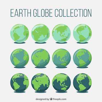 Фантастическая коллекция земных шаров в плоском дизайне