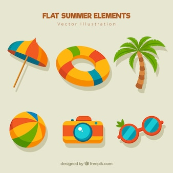 Fantastic collection of summer elements in flat design