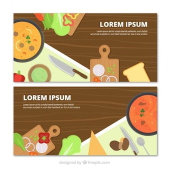 Fantastic cooking banners with flat products