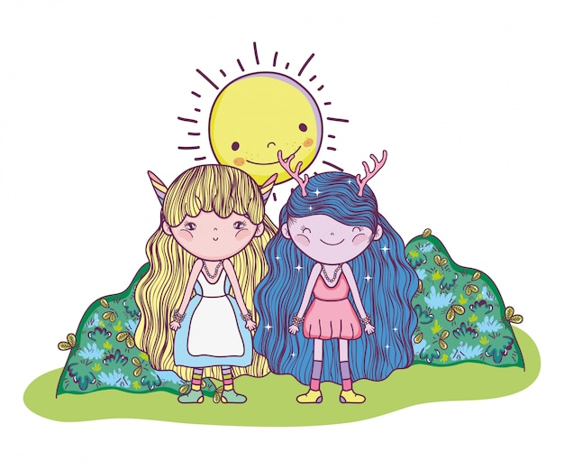 Fantastic creatures girls with sun and bushes