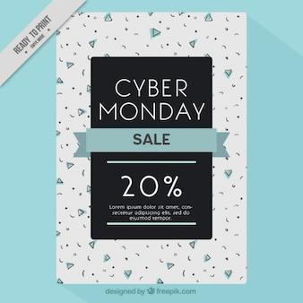 Фантастический кибер-понедельник флаер с голубой лентой
