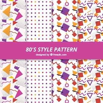 Fantastic decorative patterns in 80s style