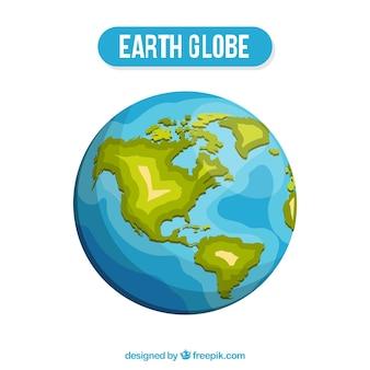 Fantastic earth globe in flat design