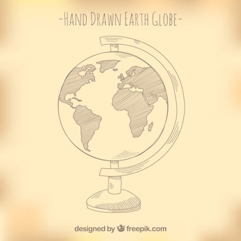 Fantastic earth globe in hand-drawn style