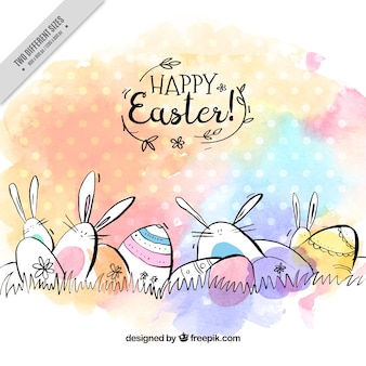 Fantastic easter background with eggs and rabbits in watercolor style