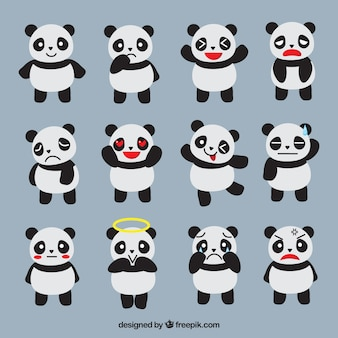 Fantastic emoticons of panda