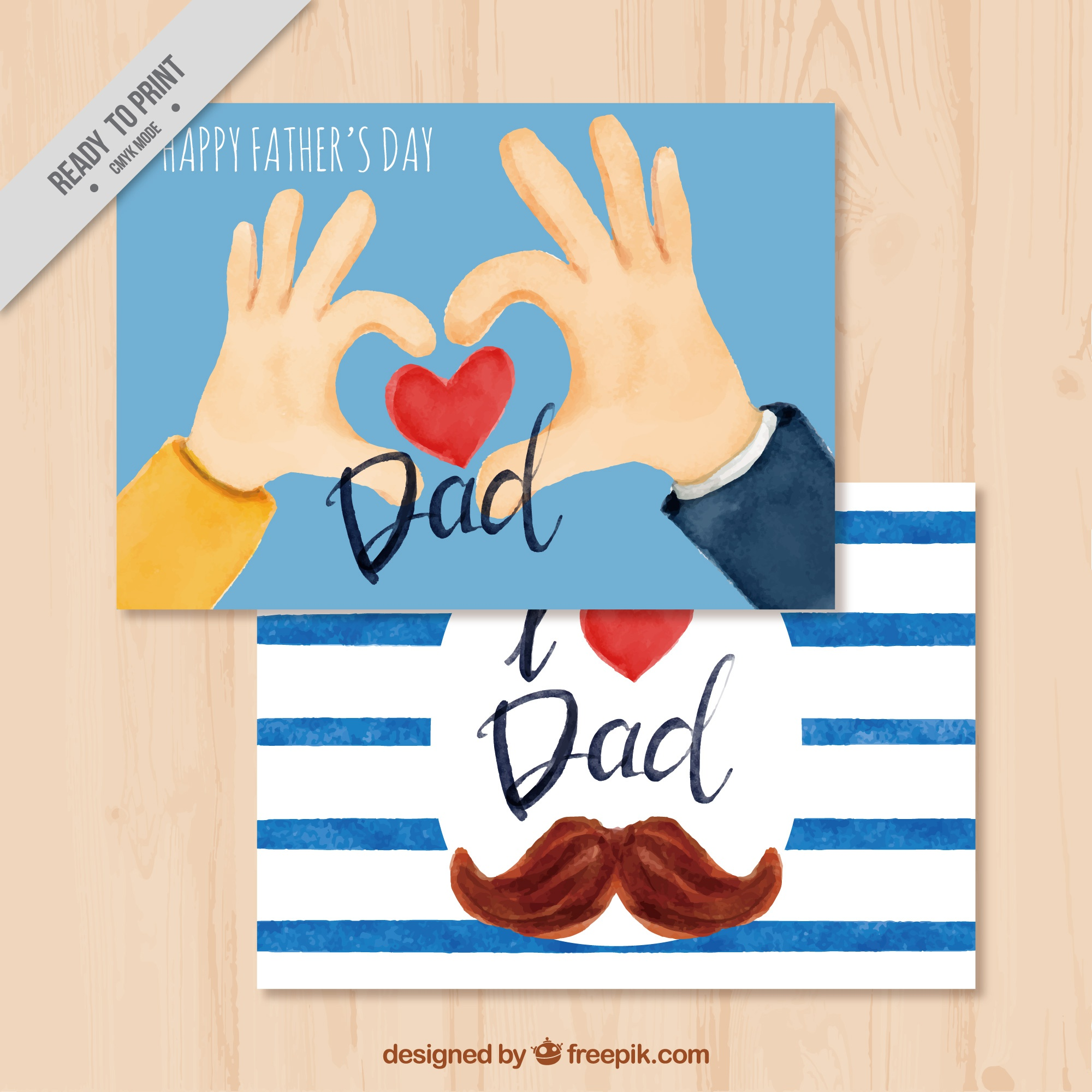 Fantastic father's day cards in watercolor style