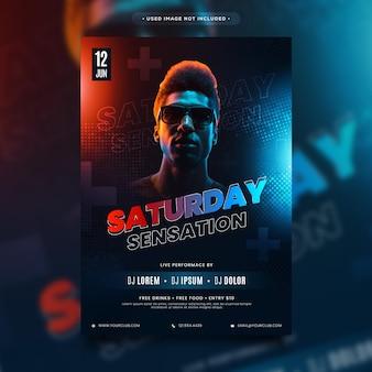 Fantastic flyer, poster design for saturday sensation party night- editable flyer