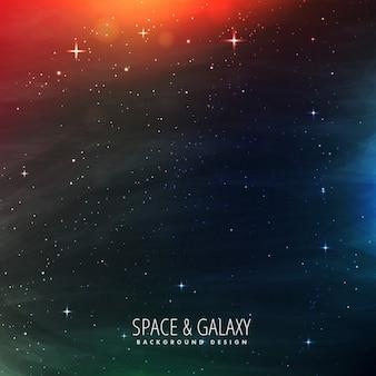 星とカラフルなライトが付いているスペース