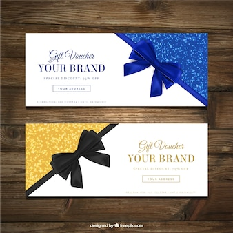 Fantastic gift vouchers with decorative bows