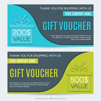 Fantastic gift vouchers with wavy shapes