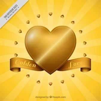 Fantastic golden background with hearts