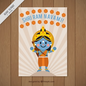 Fantastic greeting card with rama and floral decoration