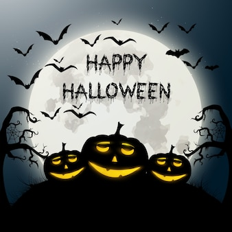 Fantastic halloween background with pumpkins and bats