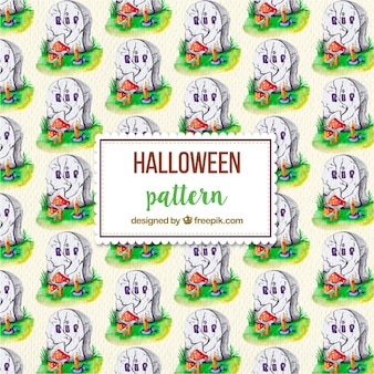 Fantastic halloween pattern with tombs