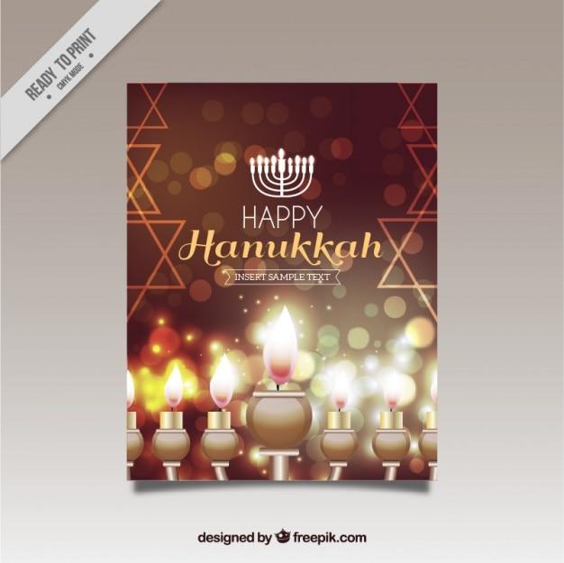 Fantastic hanukkah greeting card with shiny candles