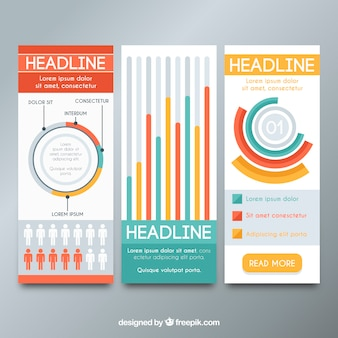 Fantastic infographic banners with charts in flat design