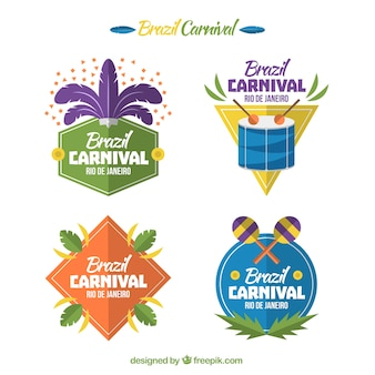 Fantastic labels with geometric shapes for brazilian carnival