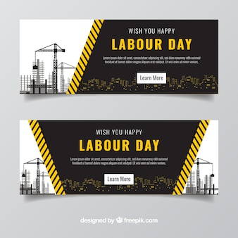 Fantastic labour day banners with constructions