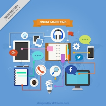 Fantastic marketing background with devices and tools