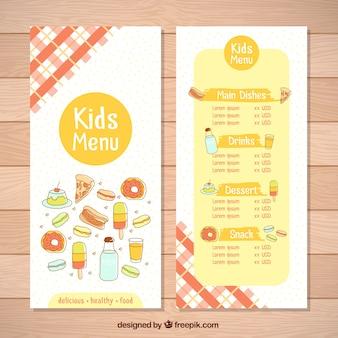 다른 제품을 가진 아이들을위한 환상적인 메뉴