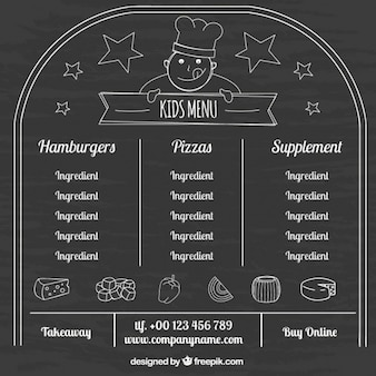 Fantastico menù per i bambini con sfondo lavagna
