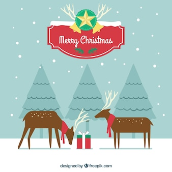 Fantastic merry christmas background with deers and snow