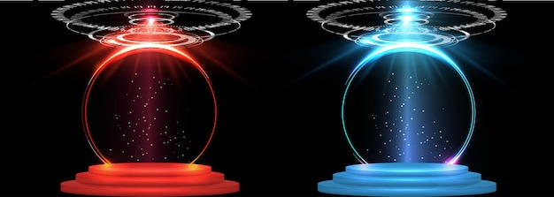 幻想的なモダンで未来的なネオンブルーサークル