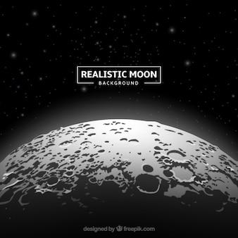 Фантастический фон луны в реалистичном дизайне