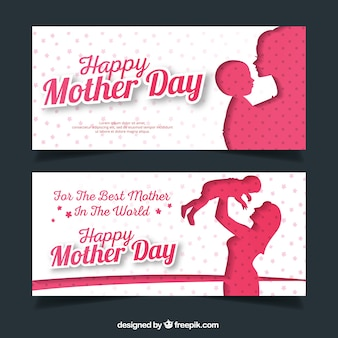 Fantastic mother's day banners with silhouettes