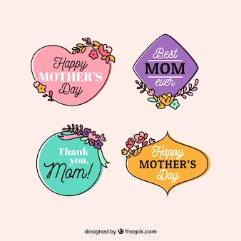 Fantastic mother's day stickers with hand-drawn flowers